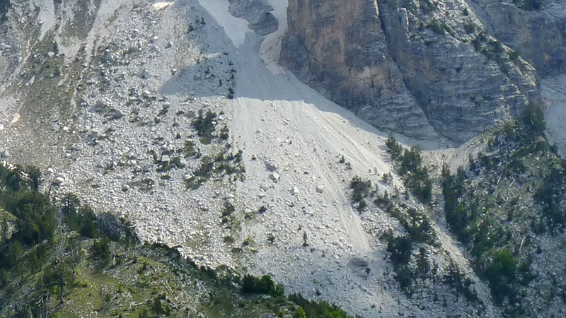 Rockslide in mountains
